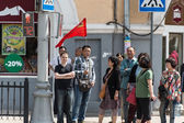 Chinese tourists group at Sergiyev Posad, Russia — Stock Photo