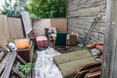 Yard in a russian slums — Stock Photo