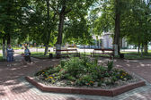 Flowerbed in the city park of Rostov town, Russia — Stock Photo