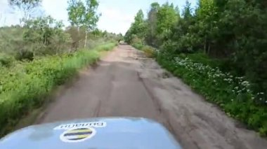 Offroad drive on a russian road. View from suv car cabin — Stock Video