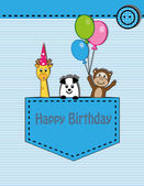 Cute happy birthday card with giraffe, monkey and panda — Stock Vector