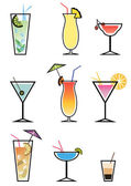 Set of cocktails, vector illustration — Stock Vector