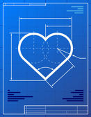 Illustration of heart like blueprint drawing — Stock Vector