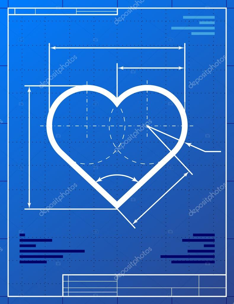 Stylized drawing of heart symbol on blueprint paper. — Stock Vector #17979485