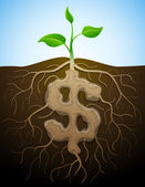 Dollar sign is shown as root of plant — Stock Vector