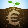 Euro sign like root of plant — Stock Vector #19814701
