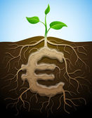 Euro sign like root of plant — Stock Vector