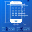 Smartphone like blueprint drawing — Stock Vector #20834667