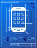 Smartphone like blueprint drawing — Stock Vector