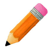 Hand drawn tilted pencil with eraser — Stock Photo
