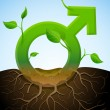 Growing male symbol like plant with leaves and roots — Vecteur #23487097