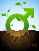 Growing male symbol like plant with leaves and roots — Vetorial Stock