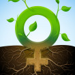 Growing female symbol like plant with leaves and roots - Stock Vector
