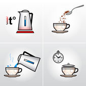 Icon set for process of brewing tea, coffee, etc. — 图库矢量图片