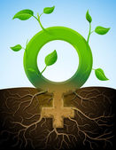 Growing female symbol like plant with leaves and roots — Stock Vector