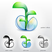 Sprout of plant grow up from stylised spherical seed — 图库矢量图片