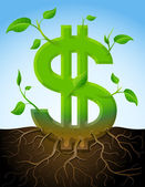 Growing dollar symbol like plant with leaves and roots — Stock Vector