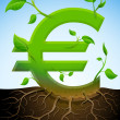 Growing euro symbol like plant with leaves and roots — Stock Vector #28663721