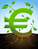Growing euro symbol like plant with leaves and roots — Stock Vector