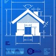Home symbol like blueprint drawing — Stok Vektör
