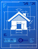 Home symbol like blueprint drawing — Stock Vector