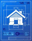 Home symbol like blueprint drawing — Stock Vector