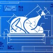 Постер, плакат: Christmas whole turkey symbol like blueprint drawing