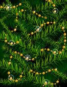 圣诞树枝和装饰珠。矢量背景 — 图库矢量图片