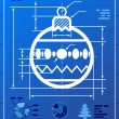 Christmas tree ball symbol like blueprint drawing — Stock Vector