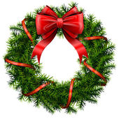Christmas wreath with red bow and ribbon — Stockvector