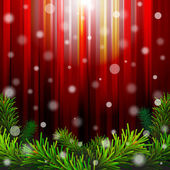 Christmas red background with pine branches against lighting — Stock Vector