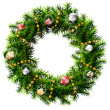 Christmas wreath with decorative beads and balls — Vector de stock