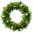 Christmas wreath with decorative beads and balls — Imagen vectorial