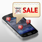 Smartphone with message bubble about sale — Stockvector