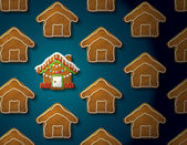 Gingerbreads in shape of christmas house with icing — Stock Vector
