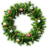 Christmas wreath with decorative beads and balls — Vecteur