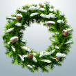 Christmas wreath with pinecones and snow — Vector de stock