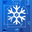 Snowflake symbol like blueprint drawing — Stock Vector #32241431