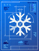Snowflake symbol like blueprint drawing — Stock Vector