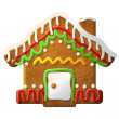 Gingerbread house decorated colored icing — Stock Vector