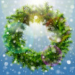 Christmas wreath with overhead lighting and snowfall — Vector de stock