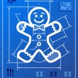 Gingerbread man symbol like blueprint drawing — ストックベクタ