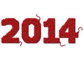 Nuevo año 2014 de tejido aislado sobre fondo blanco — Vector de stock