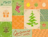 Carte de noël vintage aux couleurs verts — Vecteur