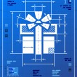 Gift symbol like blueprint drawing — Imagen vectorial