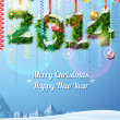 New Year 2014 of twigs like christmas decoration — Imagens vectoriais em stock
