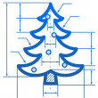 Christmas tree symbol with dimension lines — Stock Vector
