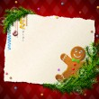 Paper for christmas list with gingerbread man — 图库矢量图片