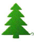 Christmas tree of knitted fabric isolated on white background — Stock Vector