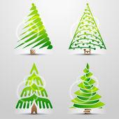 Set of original vector christmas trees — Stock Vector